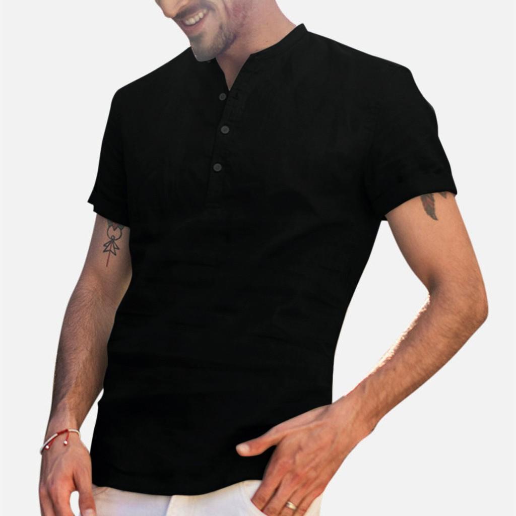Рукав Сплошные цвета Stand Collar Топы Мужской одежды Mens 2020 Дизайнер Luxury Shirt Summer льняной Смешать Замыкание