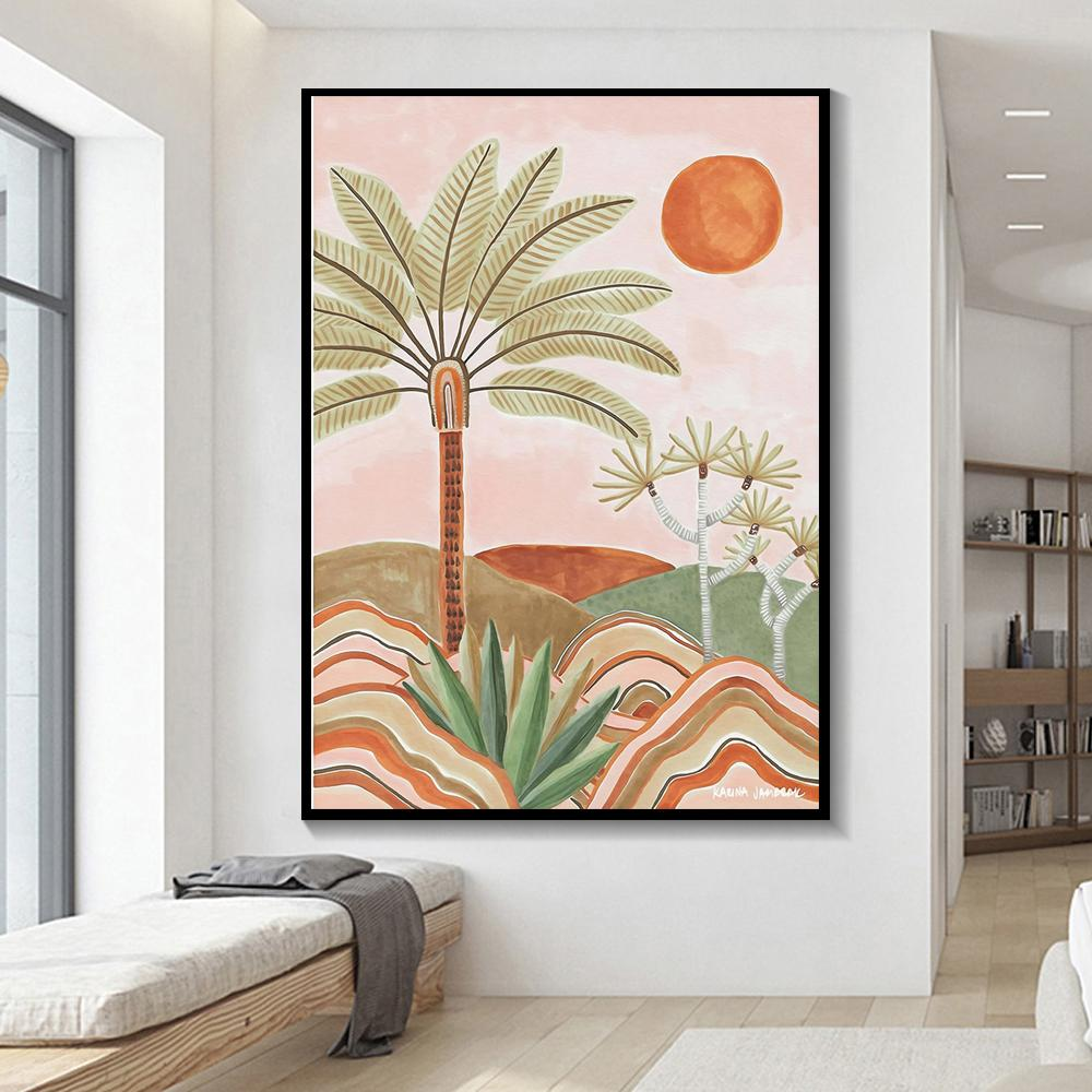 Canvas Painting Vintage Landscape Tree and Sun Holiday Trip Poster Print Wall Art Pictures For Home Decor Living Room Unframed