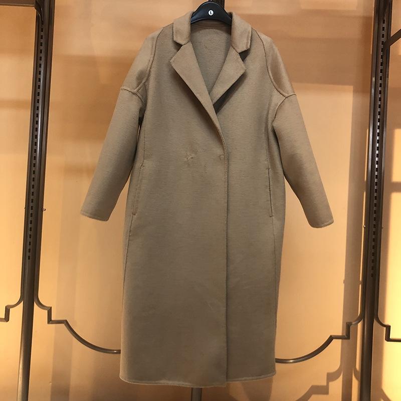 cxoQT capa de lana sencilla invierno abrigo de lana temperamento creativo estilo de Corea del traje de cuello recto woolenseason cachemira