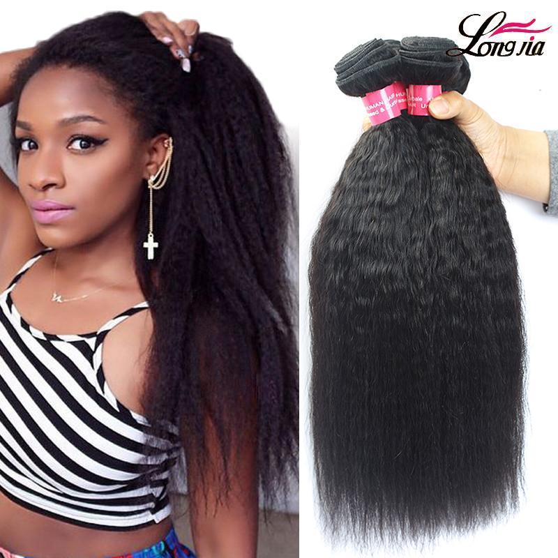 La extensión del pelo humano de Yaki de la Virgen brasileña rizada humana recta paquetes de pelo sin procesar india Yaki humano de la onda del color natural