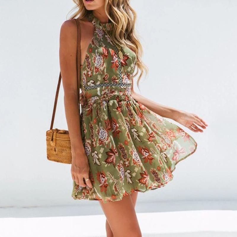 Böhmische Blumendruck Strand-Kleid-Frauen-Halter Taille aushöhlen Spitze-Minikleid Damen Backless Fliege Chiffon Kleider Sommer