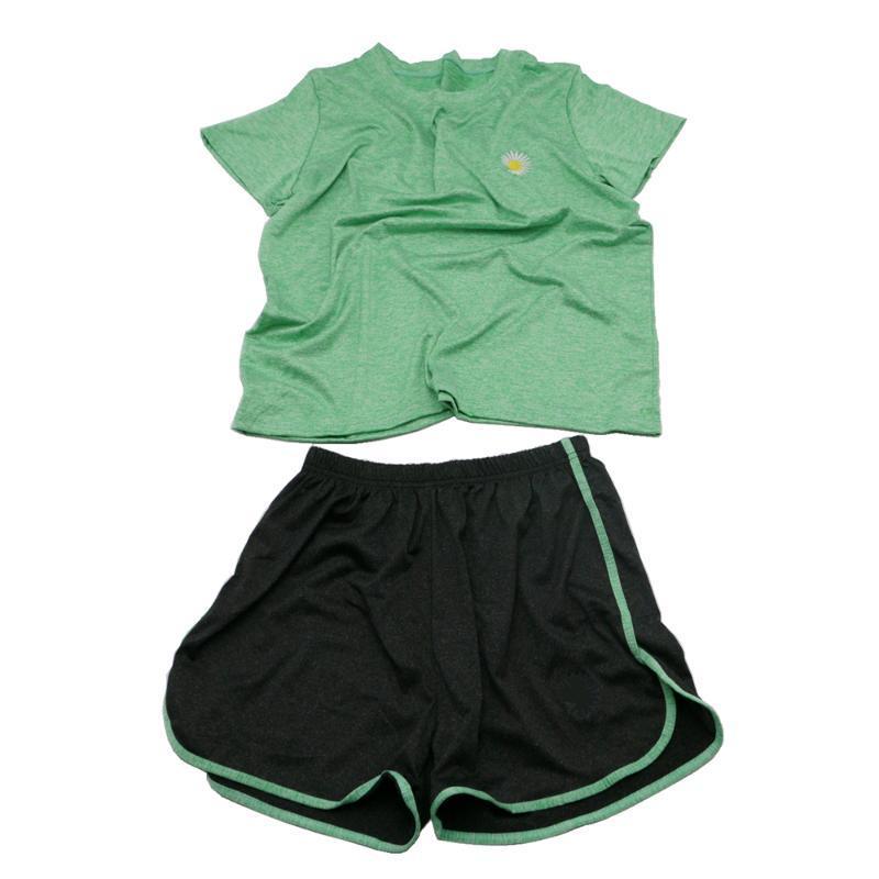2 pezzi di abito Sport Set per le donne manica corta + Shorts Fiore Quick Dry Fitness Gym corso Imposta allenamento atletico Panno DQ001