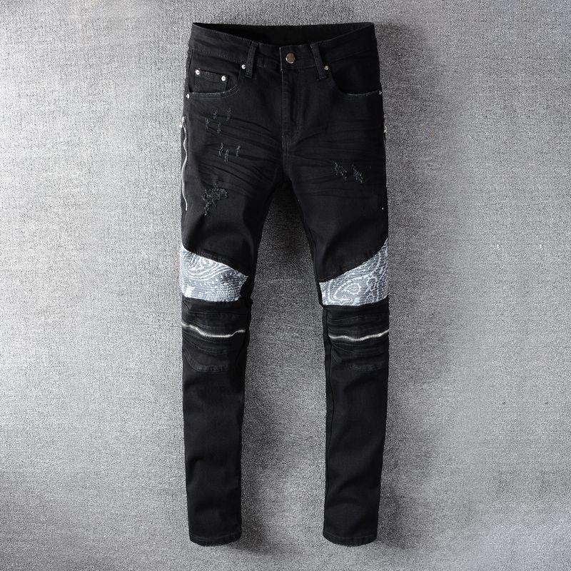 Moda Streetwear Hombres Vaqueros Negro Color de empalmado de diseño Ripped Jeans Hip Hop pantalones remiendo de calidad superior del motorista Homme