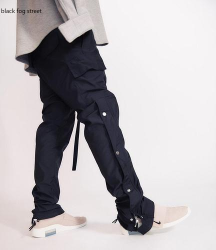 Pantaloni neri nebbia strada Uomini laterale a scatto Cargo Pants Hip Hop Slim Fit Ribboned cintura pista