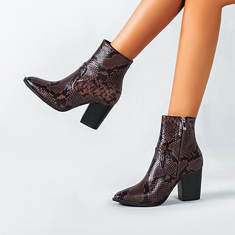 Yüksek Kaliteli Kadınlar Hayvan Yılan desen PU Deri Yüksek Topuklar Patik Ayak bileği botas Ayakkabılar 2020 Sonbahar Kış Bilek Boots