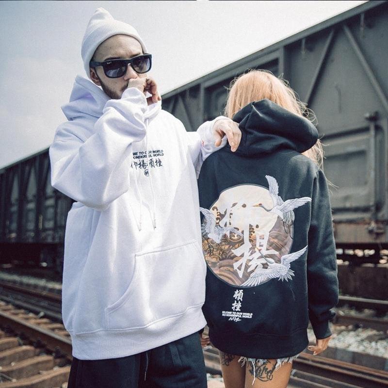 Embroidery Japanese Cranes Pullover Hoodies Men 2019 Winter Hip Hop Male Casual Hooded Sweatshirts Streetwear ILLe#