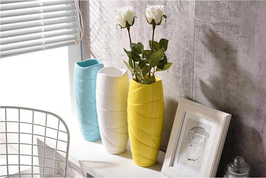 Современные 34Ceramic Ваза для декора дома Столешница ваза белого черного желтого цвета на выбор