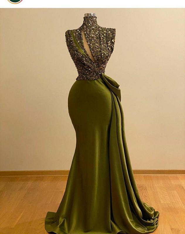 2021 Hunter зеленый кристалл из бисера Русалка Пром платья Vintage High Neck Вечернее платье Saudi Arabic Длинные Формальные платье партии