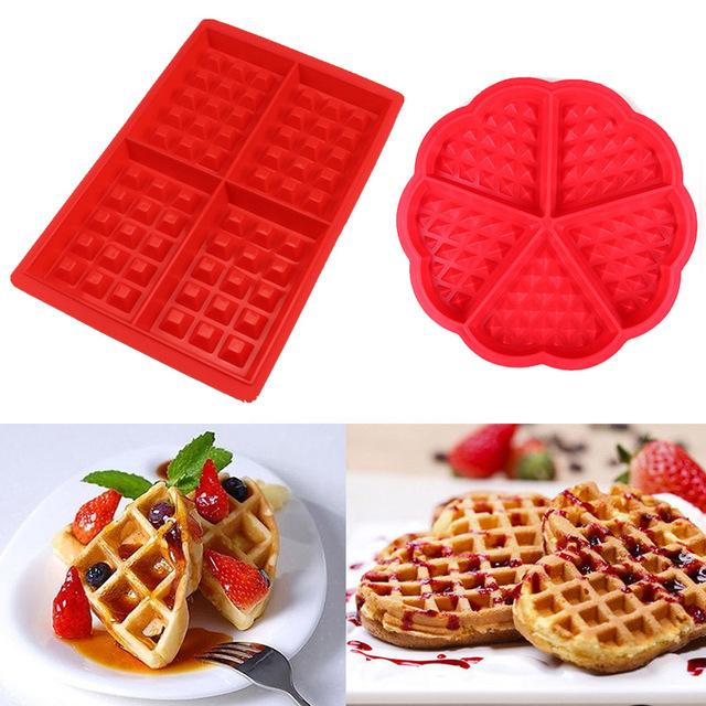 Cheap Waffle Molds Non-stick Silicone Waffle Mold Kitchen Bakeware Cake Mould Makers for Oven High-temperature Baking Set
