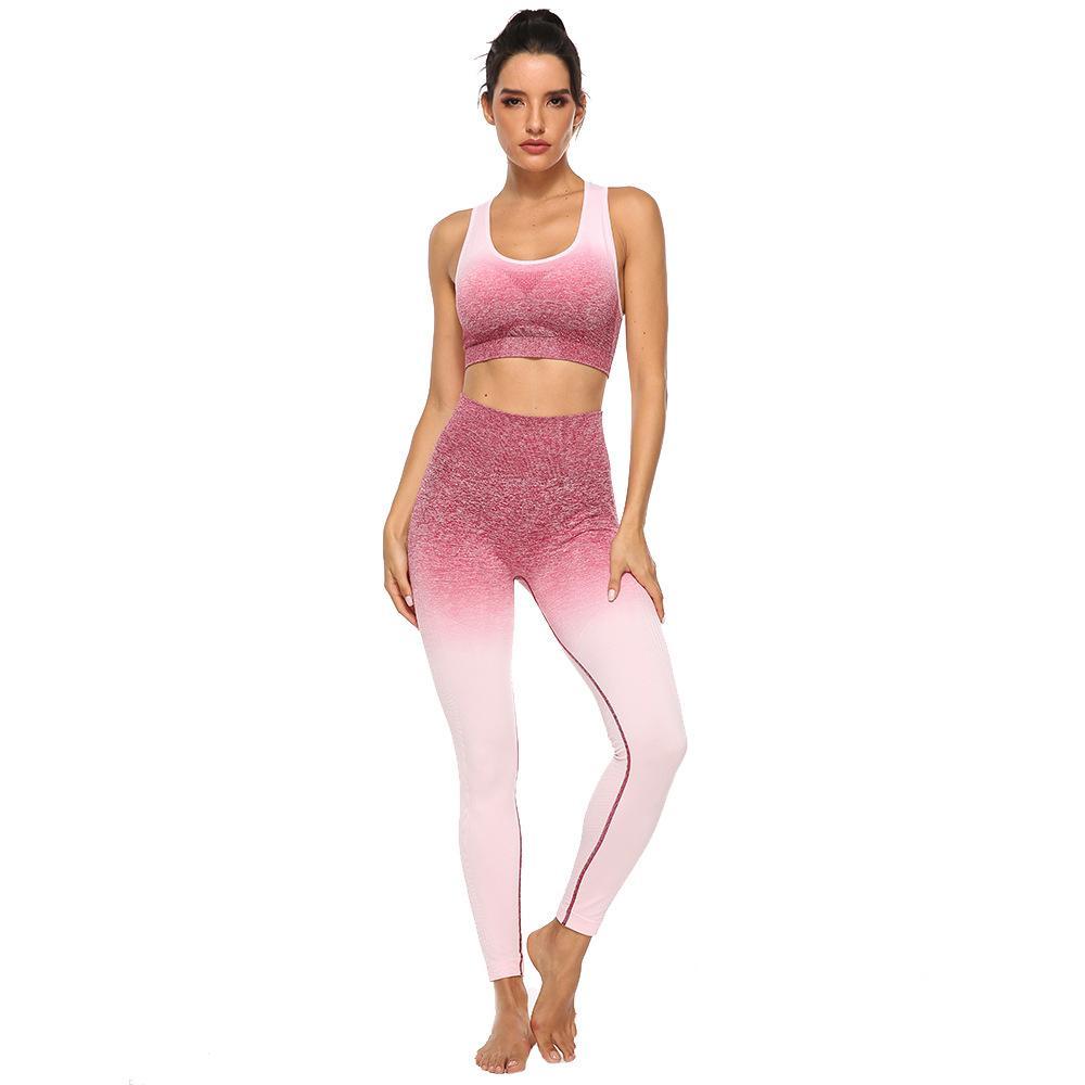 Esportes ao ar livre gradiente de alta elástica hip-lifting desgaste uniforme yoga set meias sutiã esportivo