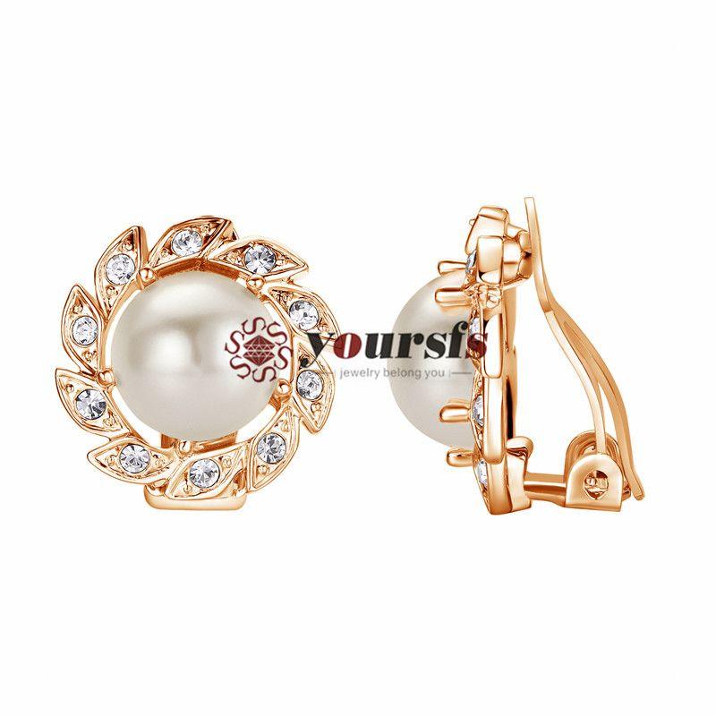 Yoursfs mujeres floral imitación perla clip-en pendientes moda cristal 18k oro chapado regalo regalo joyería