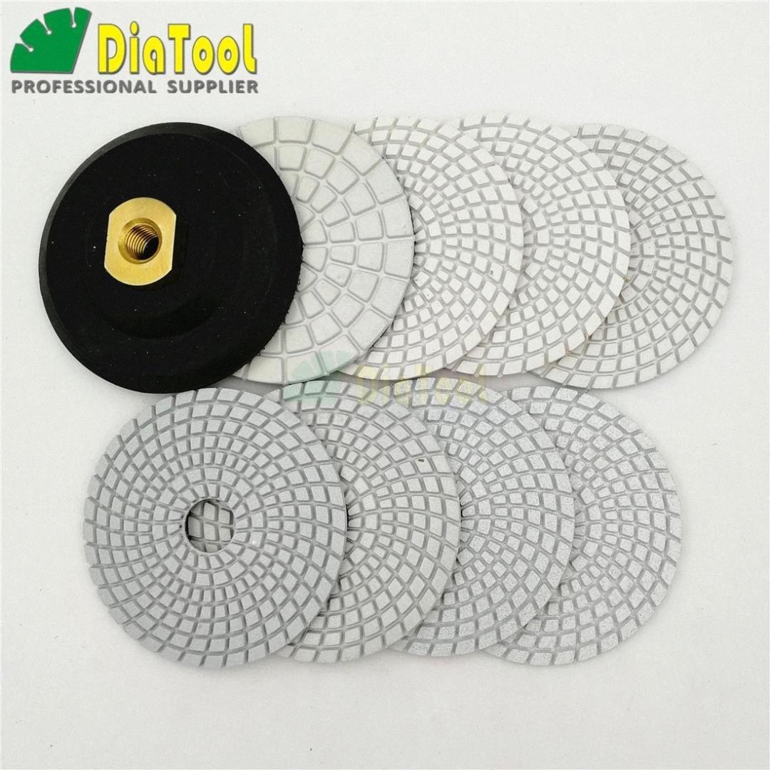 """DIATOOL 8 Stück 4"""" Wet Weiß Harzbindung Diamant-Schleifscheiben Polierkissen mit einem backer Gummi oder Aluminium basierte Marmor Granit Vftj #"""