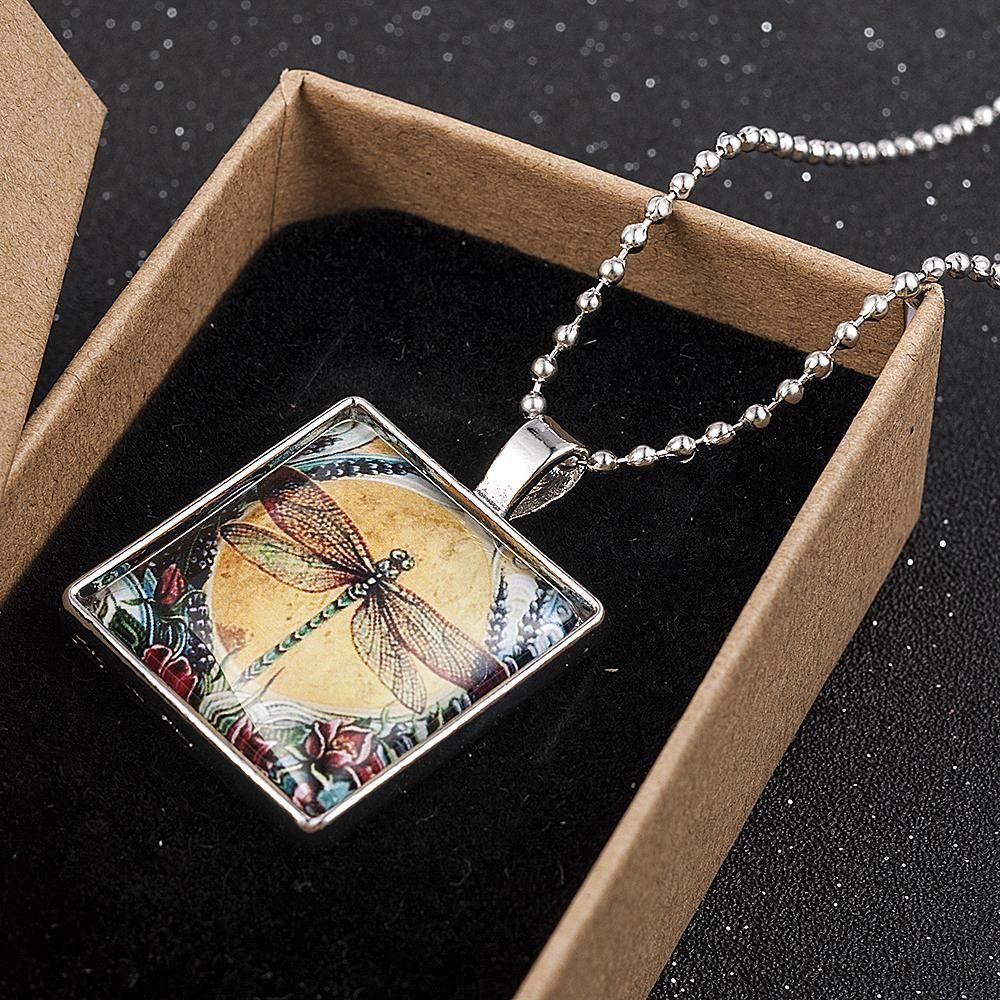 Tile Christmas Gift 2020 2020 Yellow Moon Dragonfly Art Cabochon Glass Tile Chain Pendant