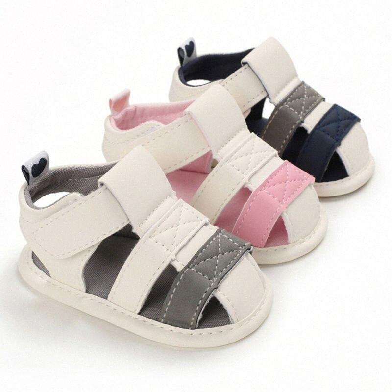 Bebés y niños pequeños del muchacho del bebé remiendo suave sandalias de cuna Zapatos primeros caminante Prewalkers 0-18Month KQEG #