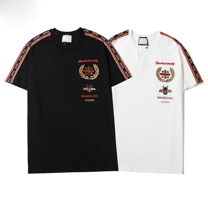 2020 Hombres camiseta de impresión Negro Blanco diseño hombres de la moda estilista camiseta de manga corta Top S-XXL