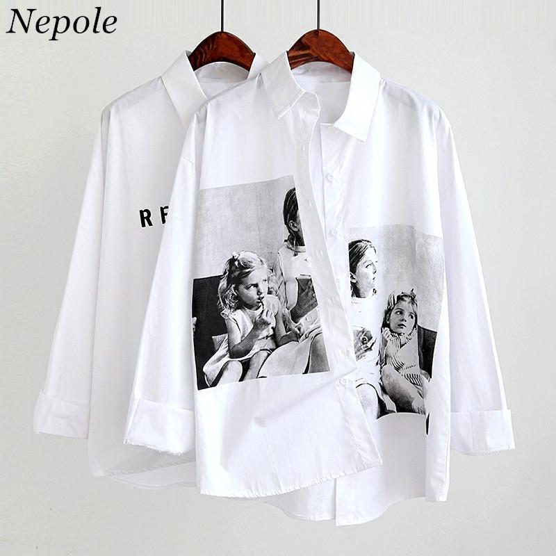 Neploe Zeichen drucken beiläufige lose Shirt mit 2020 Frühlings-Sommer-Fest Umlegekragen Weiße Bluse Harajuku Korean Blusa