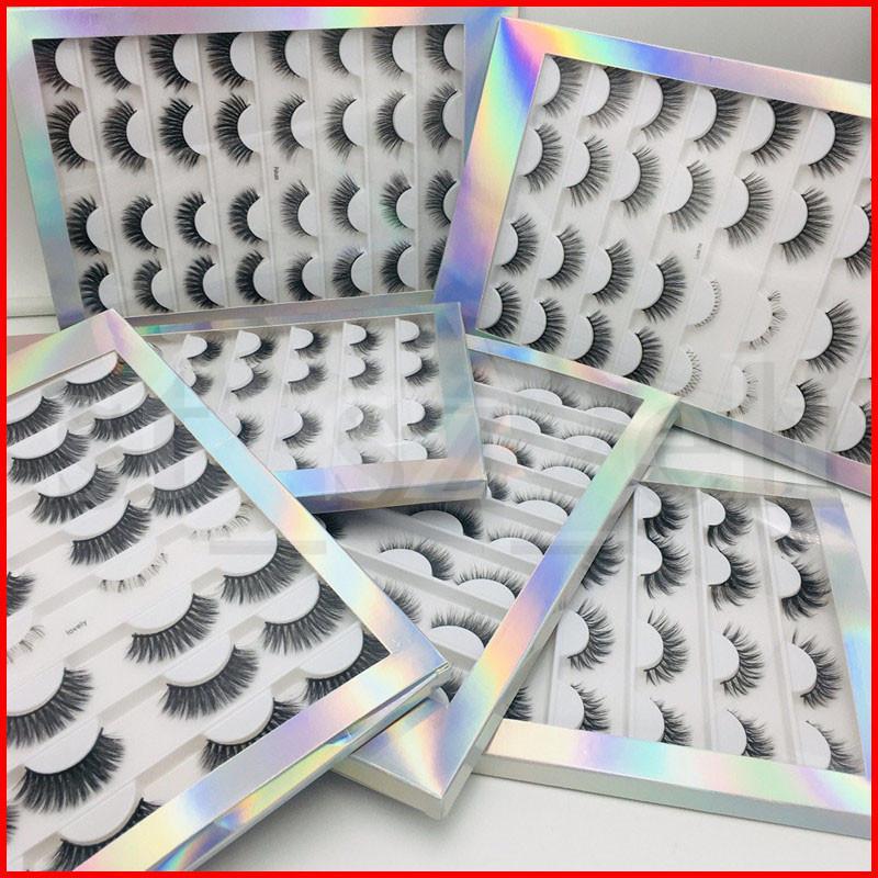 16 coppie Multipack 3D morbido visone capelli cigli falsi Handmade bioccoli Lanuginoso lunghe ciglia occhio naturale di trucco Strumenti Eye Lashes