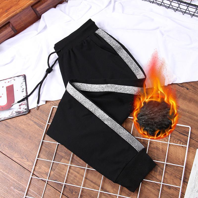 DONAMOL Plus Size Mulheres calças listradas Side Thick Sweatpants inverno quente soltas Harem Calças negro Feminino lã roupas casuais