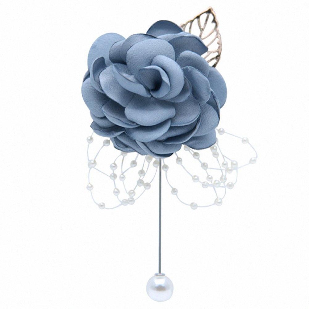 Boda de flores prendedores regalo Easy Wear Ceremonia Boutonniere dama de honor hecha a mano con perlas ramillete universal artificial Decoración Qoro #