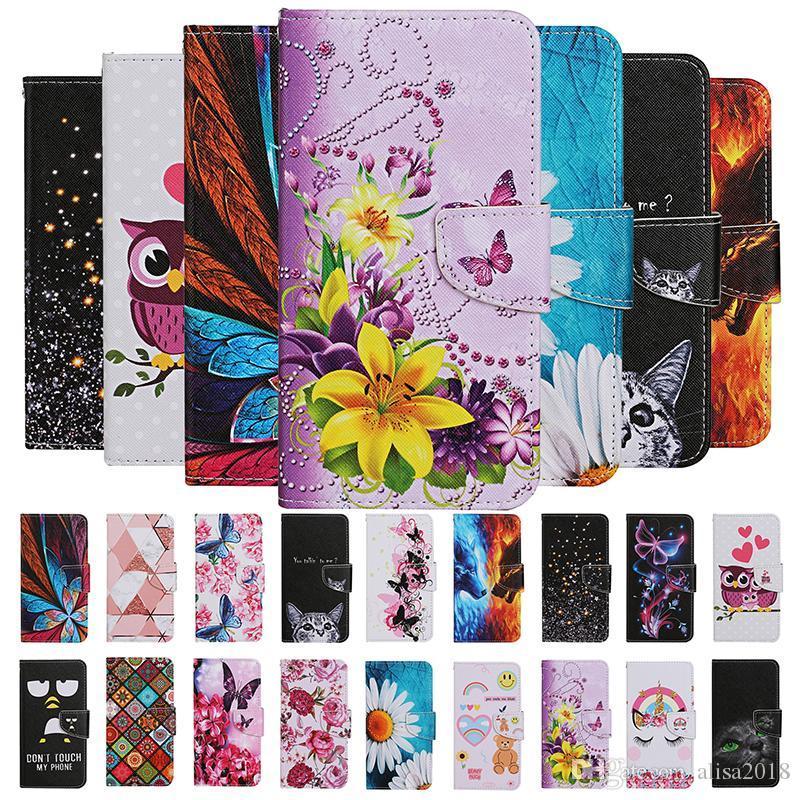 Cartoon Fleur Hibou Papillon loup Rose Carte d'ours debout Portefeuille en cuir flip pour Samsung NOTE20 PRO S10 S20 PLUS S20 Ultra S10e A10S A20S