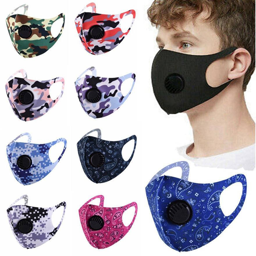 Ice Mask seta viso con maschere valvola antipolvere lavabile riutilizzabile volto della mascherina protettiva Solido Nero maschere Camo stampati HHA1482
