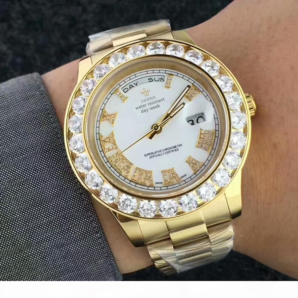 Hot Montres Hommes Diamants Or Montre Homme Marque Waterproof Quartz montre-bracelet Top luxe date lumineux mains Horloge 2019 MX190724 Mode