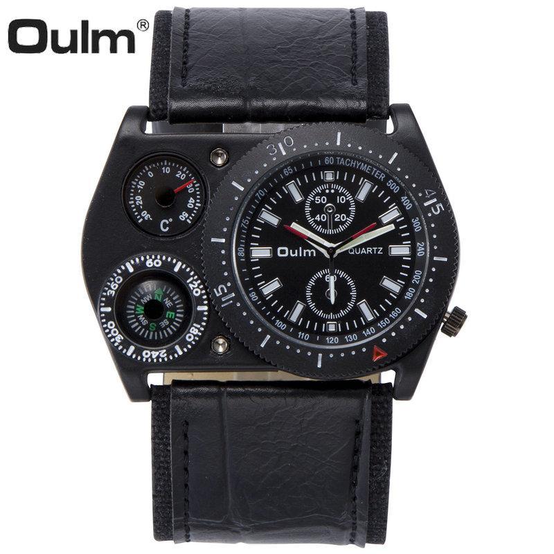 Caso Big cinturino in pelle di OULM creativo unico orologio al quarzo uomini verde sub-quadranti modo della decorazione di orologi da polso per l'uomo casual