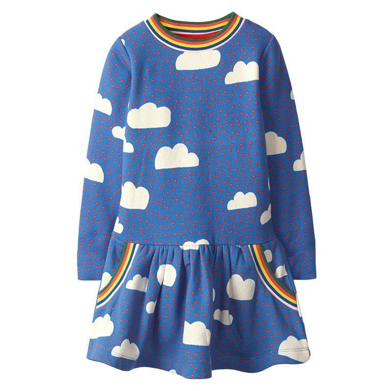 SAILEROAD Nube del arco iris impresión para Niños princesa Party otoño invierno vestido con tutú muchachas del vestido del vestido de las lentejuelas de los niños Vestidos T200713