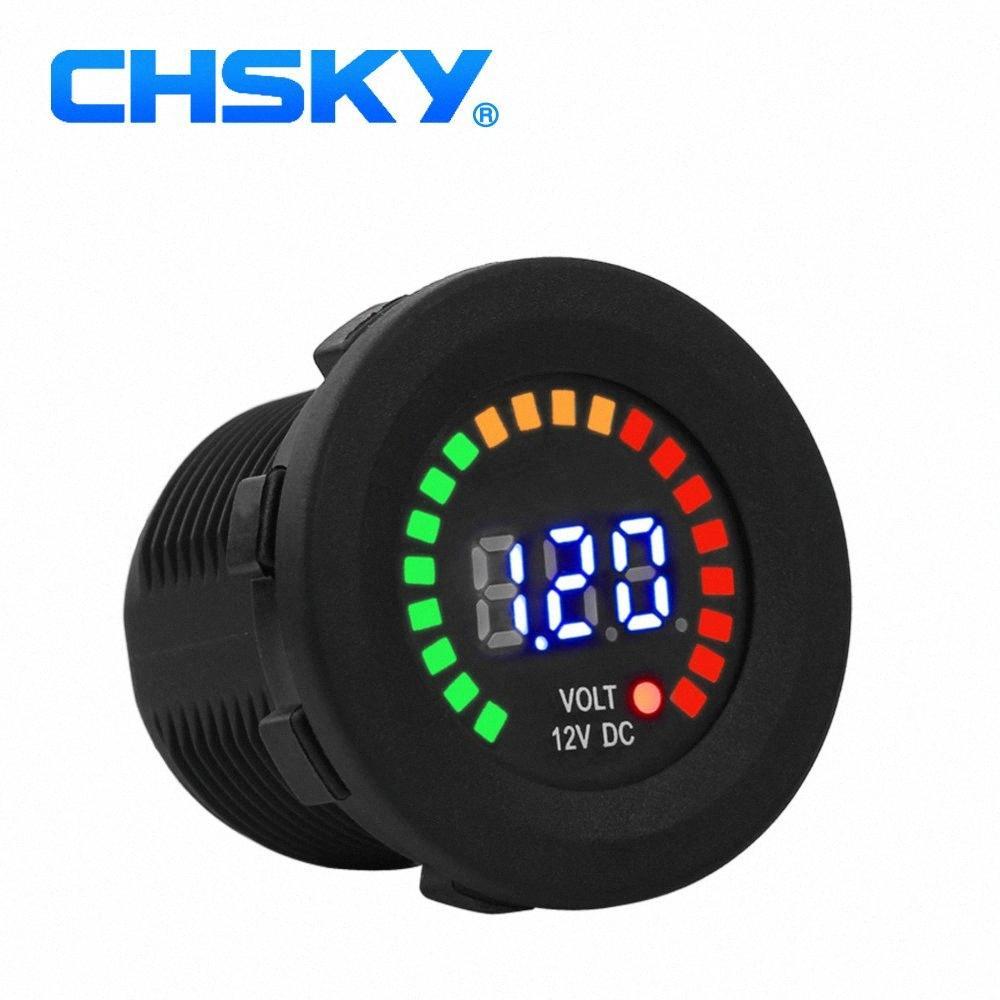 CHSKY 12V мотоцикл вольтметр Gauge автомобиль светодиодных цифровой дисплей вольтметр Водонепроницаемый Напряжение вольтметр прикуриватель l6k4 #