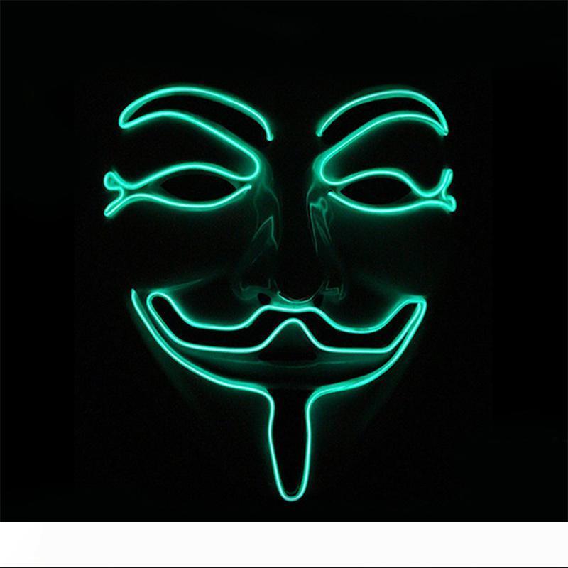 مضيئة BRELONG هالوين LED ثأر EL قناع توهج للعب دور حزب مبتسم الوجه قناع مضحك أحمر أزرق أخضر