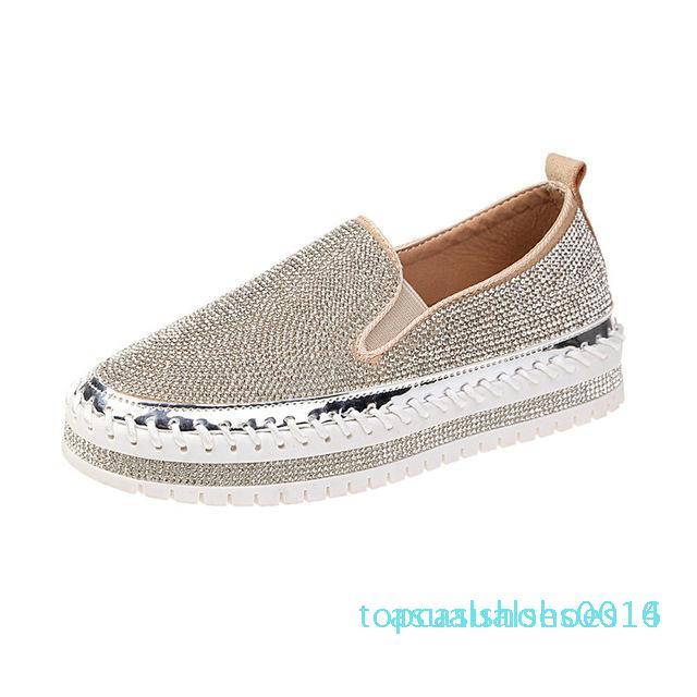 Rimocy flat platform shoes woman slip on loafers mujer 2019 spring fashion crystal casual flats women round toe low heel C14