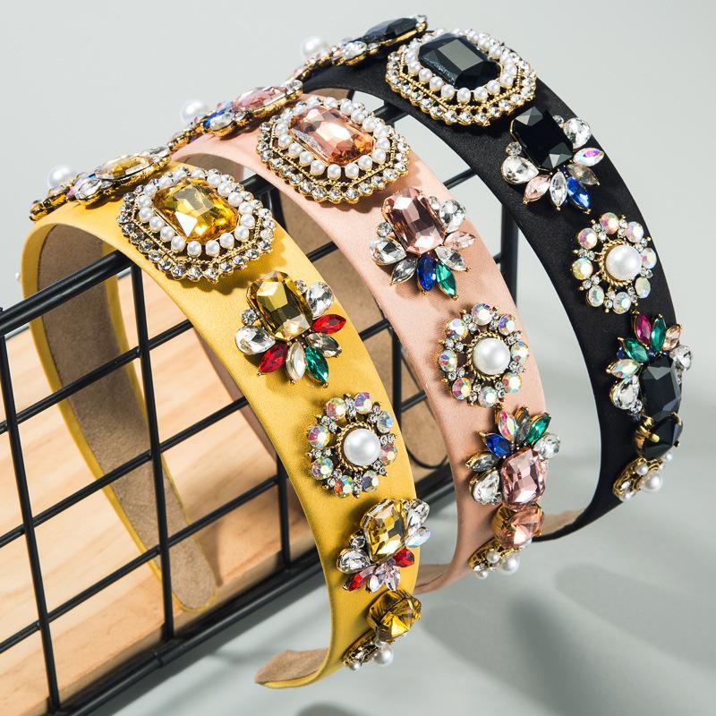 popular del verano diadema de tela color barroco estilo real diadema de perlas con sombreros de diamante de cristal