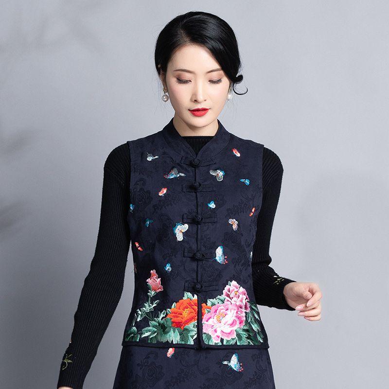 e l'usura di inverno nuova delle donne di stile etnico del ricamo jacquard di cotone cavallo Nail auto-coltivazione Jacket Retro-cinese Horse