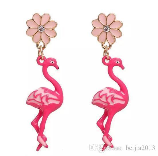 Бесплатная доставка! Серьги Золото Цвет Розовый Фламинго Цветок Clear Rhinestone Эмаль 47 * 11мм / столб провода Размер: (21 калибр), 1 пара Рождество