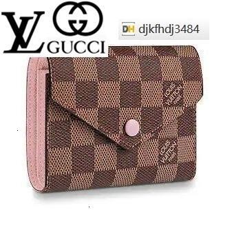 F33C N61700 victorine la carpeta del patrón de cuadrícula de color rosa cadena de piel de cordero real Caviar solapa del bolso LARGA CADENA carpetas dominantes titulares de la tarjeta CLUTCHES MONEDERO