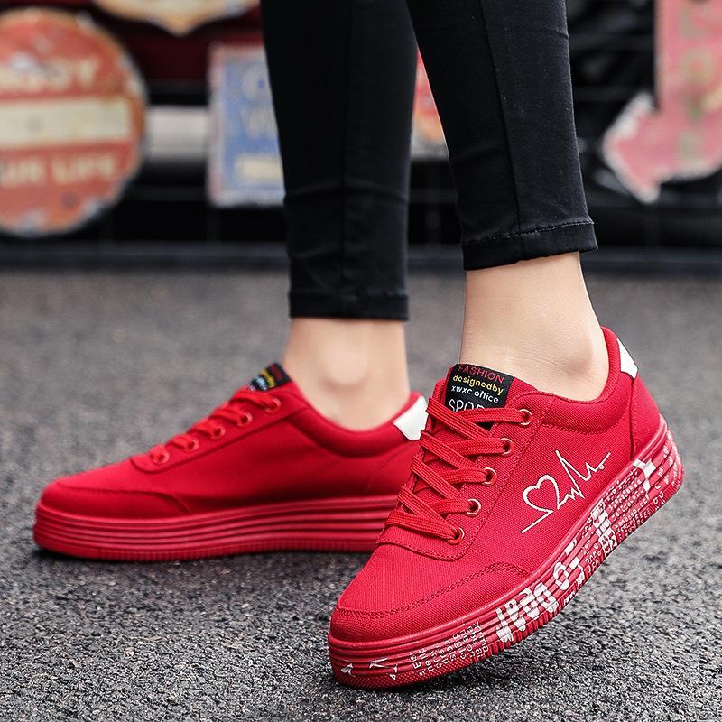 Para mujer zapatos de las mujeres 2019 Deportes Todo-Zapatos de Corea-Estilo rojos de gran tamaño de los zapatos del tablero nuevo estilo Red Mujeres bajo-Top Sail goma