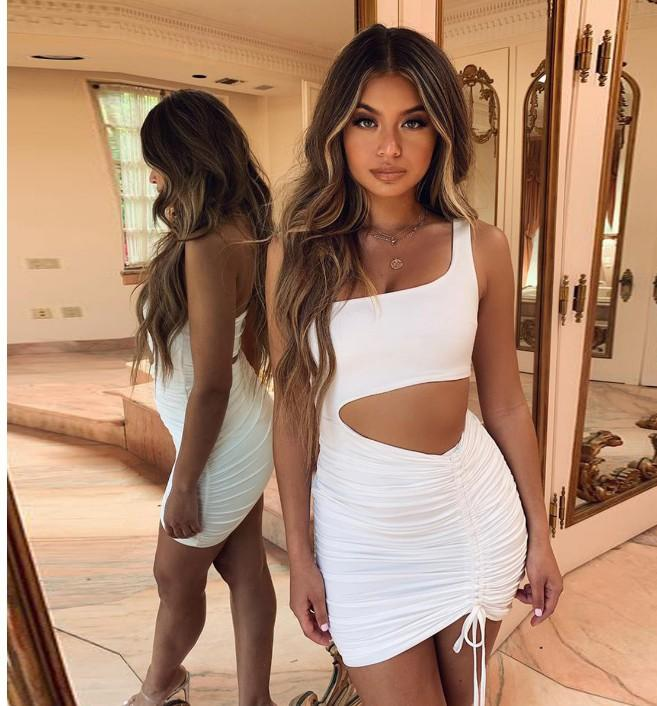 Summer Neon Dress Women Clothes 2020 Sexy Backless Hollow Ruch Bodycon Mini Dresses One Shoulder Sleeveless Drawstring Robe