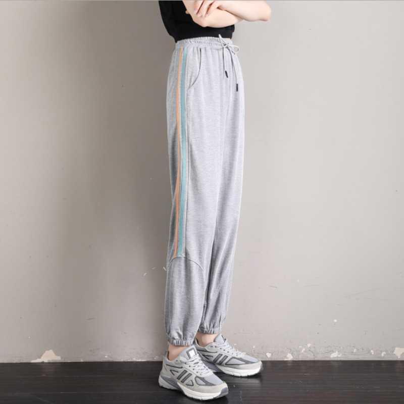 X suave fresco Tela rayas del color de basculadores de las mujeres pantalones deportivos pantalones deportivos para mujeres que activan Deportes del basculador deporte joggings Pantalones