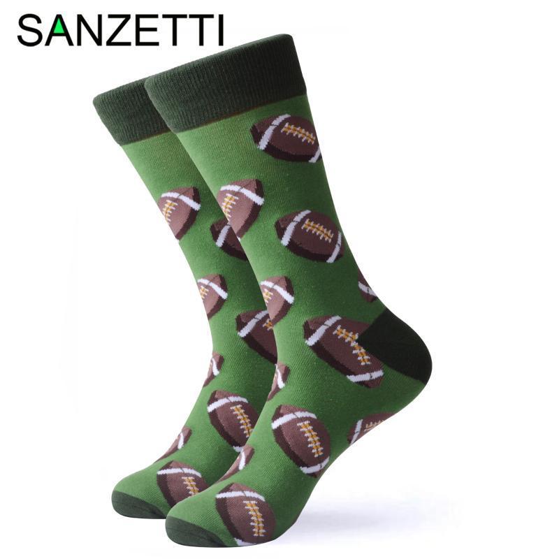 Colorido cómodo peinados de algodón SANZETTI 1 par feliz calcetines de alta calidad de los hombres del regalo del golf vestido de boda Calcetines