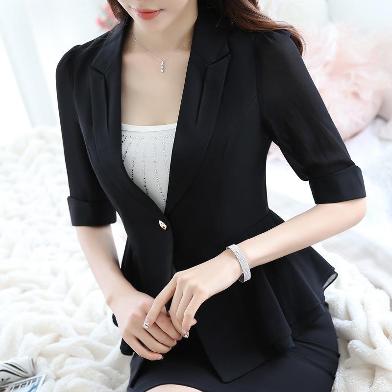 style coréen occasionnels petit costume volanté manteau de costume féminin Nouveau mode mi-manches manteau de femmes de petite taille