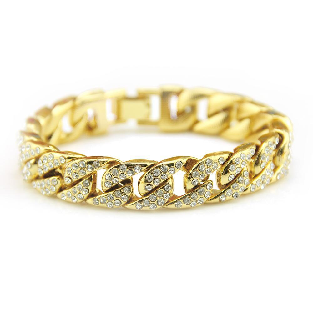 Hot Hip hop cubain strass bracelet Glacé chaîne lien pour les hommes Hip Hop Pavée CZ Rapper bracelet luxur accessoires bijoux cadeau