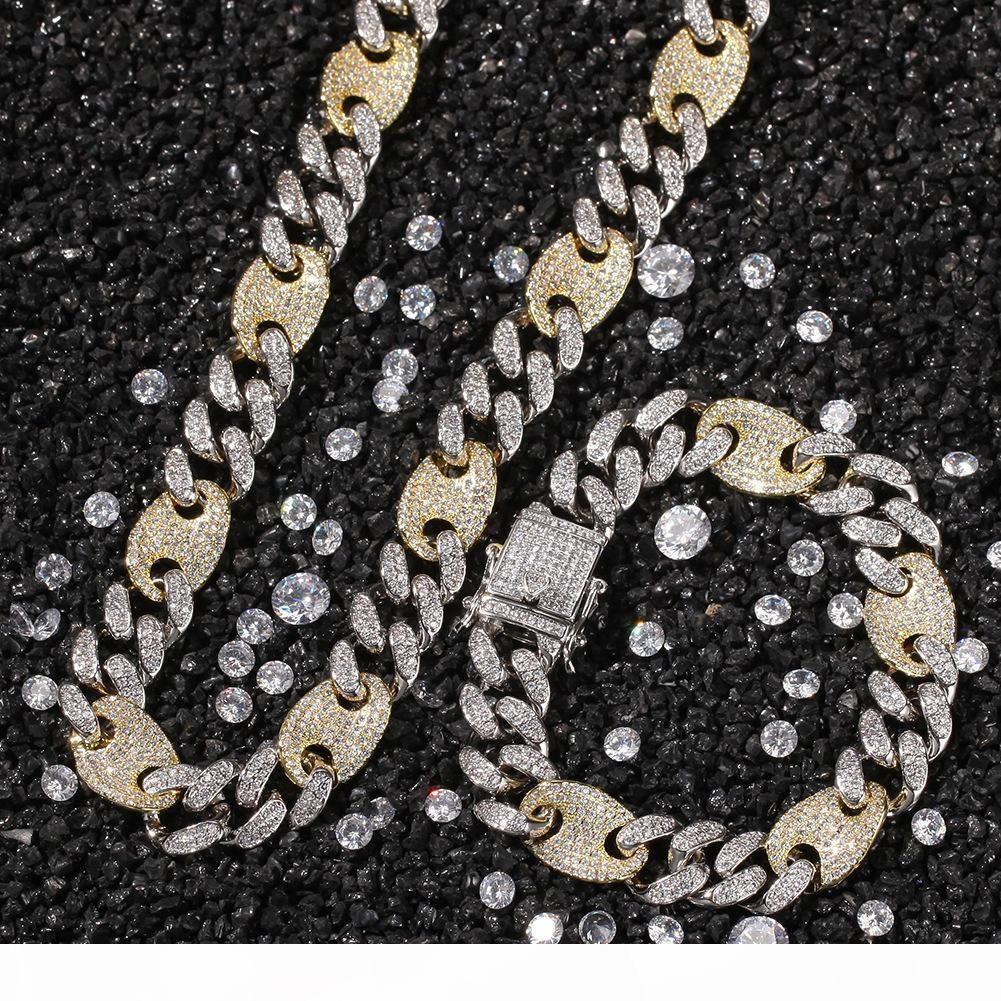 personalizada cadena de oro blanco 2 del color para hombre de diamante de plata hacia fuera helado cubano Enlace Gargantilla largo Cubic Zirconia regalos de la joyería para hombres
