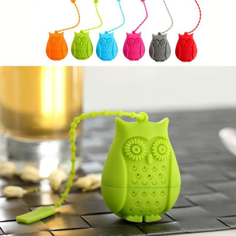 Owl lose Teebeutelhalter Eule geformte Teeblatt Infuser Silikon-Karikatur-Sieb Trinken Infuser Teaspoon Filter Teaware Werkzeuge YFA2075