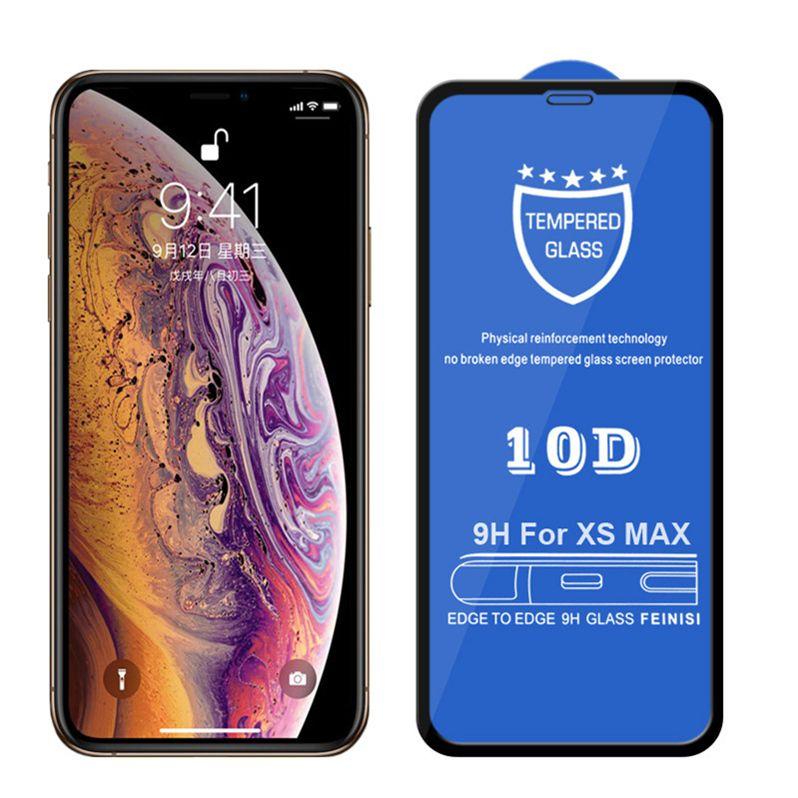 iPhone X için yüksek kaliteli 10D Tam Kapak Ekran Koruyucu 9H temperli cam Karbon Elyaf Ekran Koruyucu 6 6s 7 8 Artı Xs Max