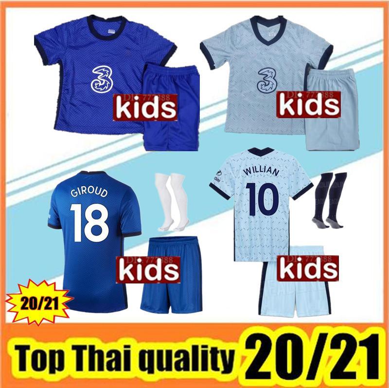 Детский наборов для Таиланда Кант футбола Джерси 2020 2021 ребенка Виллиан Жира PEDRO мальчики 20 21 футбольных рубашки форменных