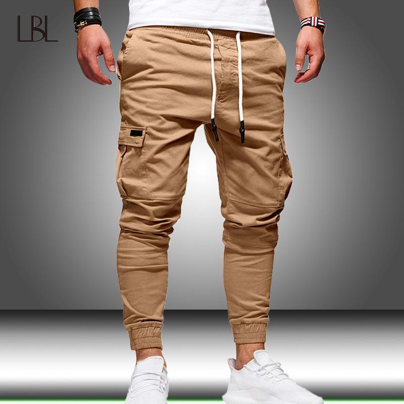 Harem Joggers Pants Men carga multi Pockets Tactical Sweatpants Mens Sólidos Pants Sports lápis Masculino de Fitness Musculação calças