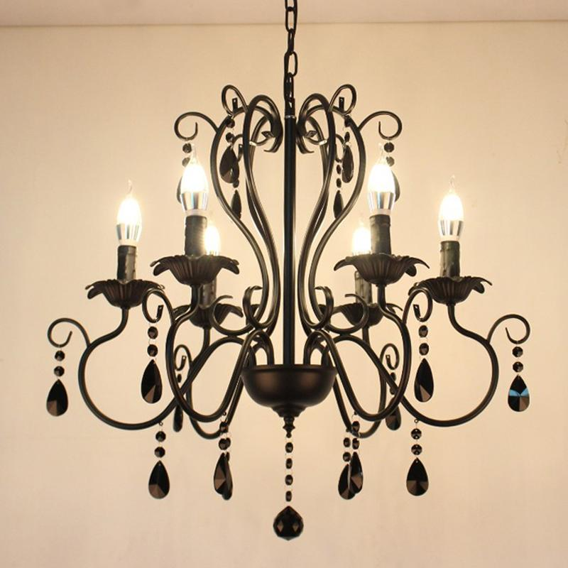 American Minimalist Wrought Iron Chandelier Light Luxury Living Room Crystal Pendant Lamp Modern Dining Room Bedroom led Crystal Chandeliers