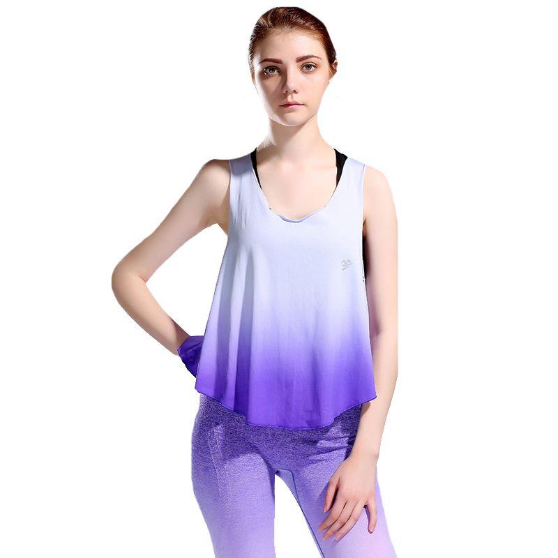 CKAHSBI Gradient Йога Crop Top Женщины без рукавов Лето Running Vest Спорт футболки Quick Dry Gym Fitness Tank Top SPORTWEAR