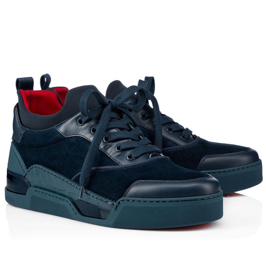 Atacado Mens de Alta Qualidade Sapatos Casuais Low Top Top Aurelien Sneakers Mulheres Plana, Homens Vermelho Fundo Perfeito Qualidade Perfeito Trainers ao ar livre Perfeitos