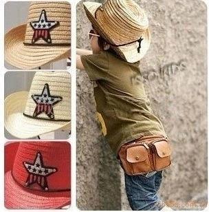 estrella de cinco puntas macho parasol sombrero al aire libre estilo de Corea de la moda y el bebé femenino de la playa del sol del sombrero de paja de paja de los niños del verano ML9Ic